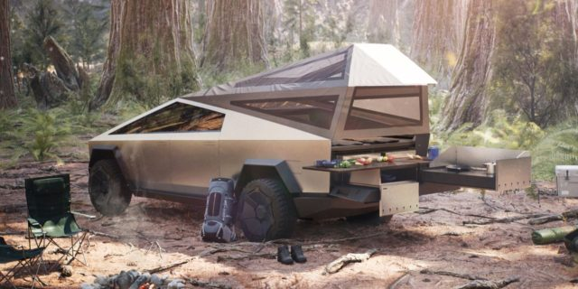 Tesla Cybertruck's bed accessible from 2nd row, making a great camping machine