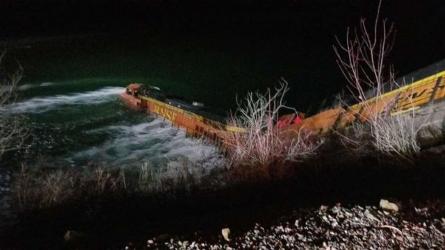 Derailed train plunges into river in Idaho, crew rescued by boat