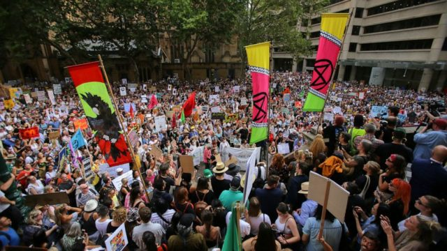 Tens of thousands protest Australia's government amid wildfires