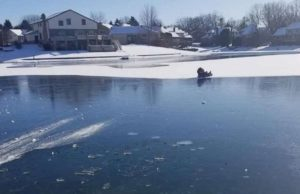 2 young children rescued after sled glides onto thin ice in Michigan