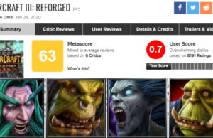 Warcraft III: Reforged to Become the Lowest User Rated Game on Metacritic of All Time