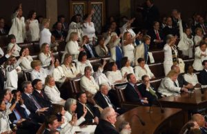 Pelosi, fellow Democratic congresswomen send message by wearing white to State of the Union