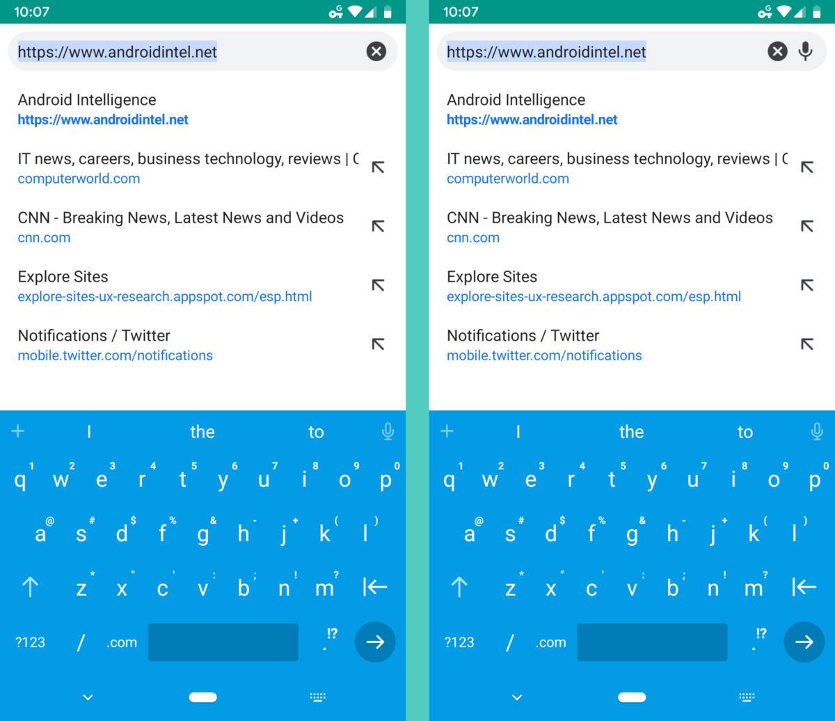 Chrome Settings - address bar speech