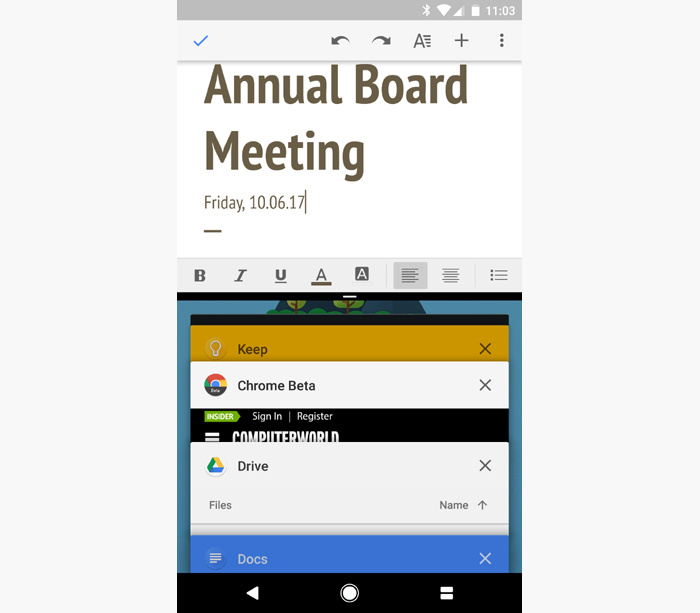 Android shortcuts - split screen