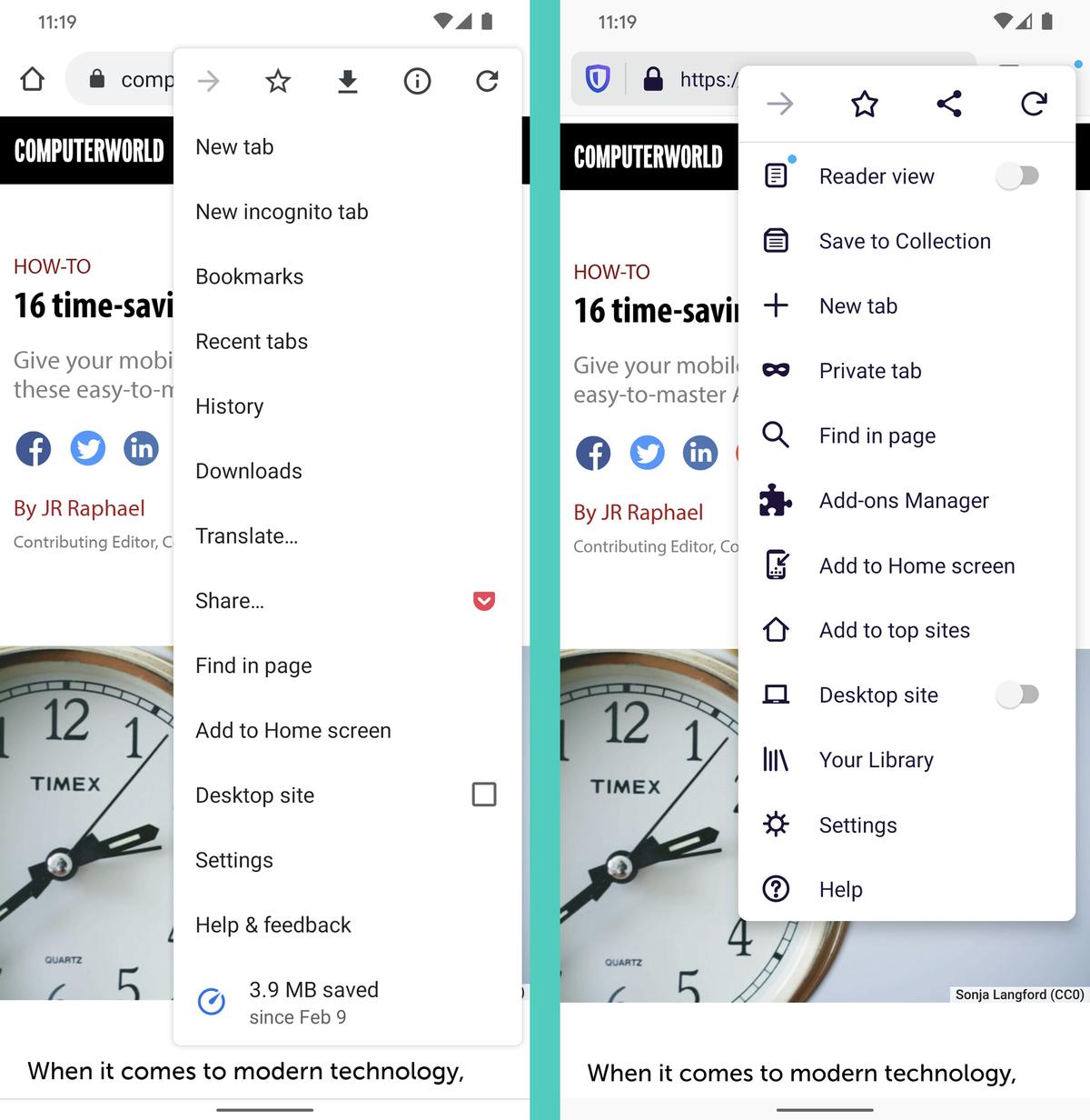 Chrome vs. Firefox Android (settings)