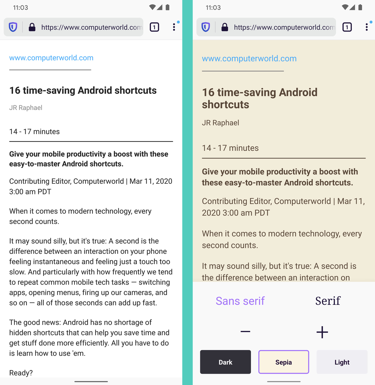 Firefox Android reader view