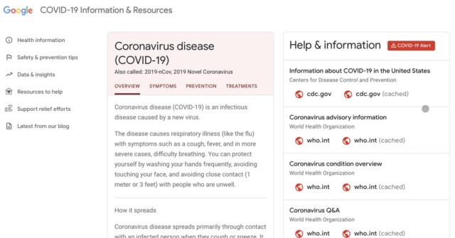 Google's coronavirus website finally launches alongside enhanced search results