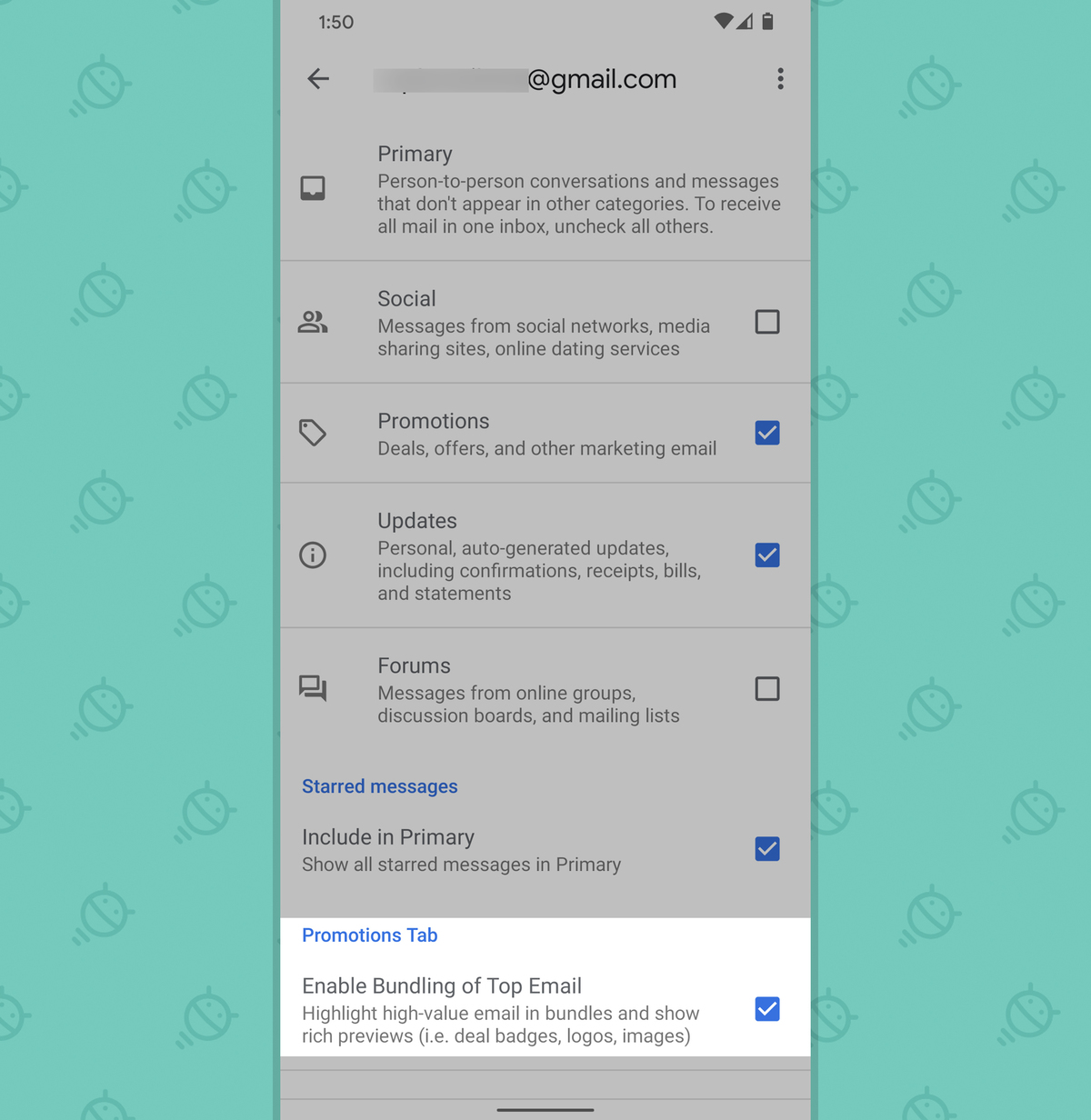 Gmail Android App: Promotions setting