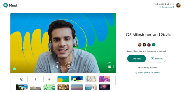 Google Meet adding blurred/custom backgrounds, Q&A, polling, more
