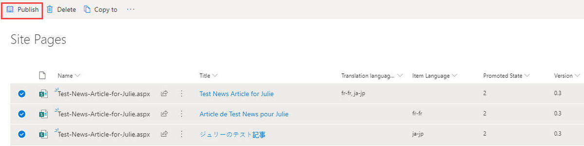 publish multiple ml pages