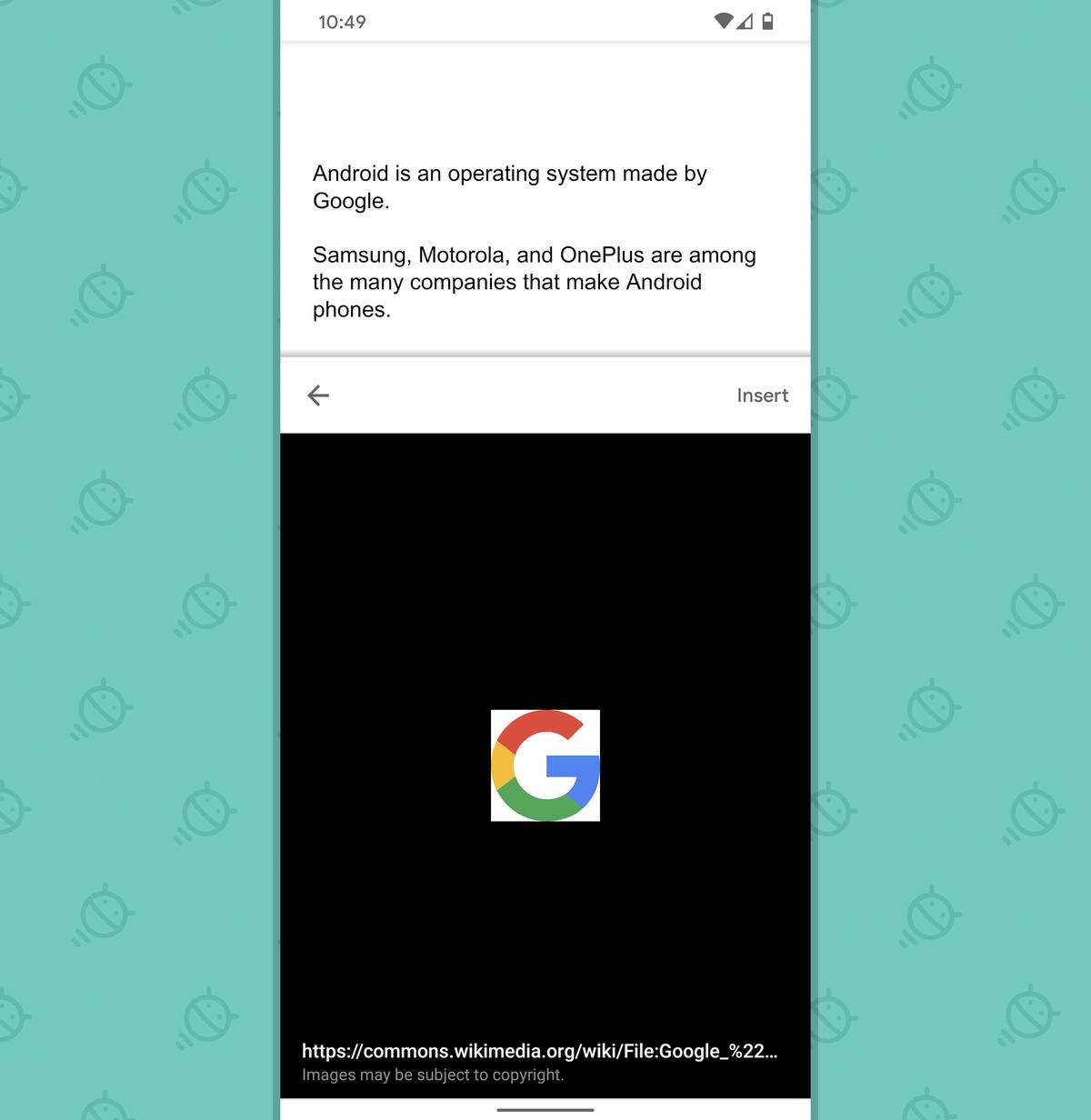 Google Docs Android: Explore - insert image
