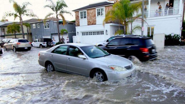 High tides flood California coastline