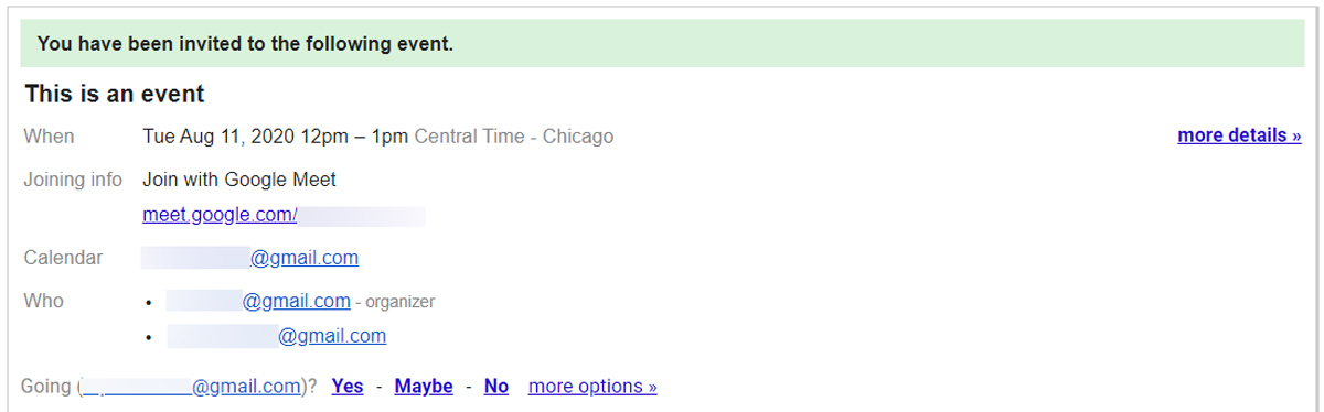 Google Meet Calendar Invite