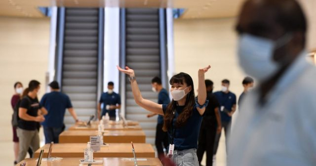 Apple has designed its own face masks for employees