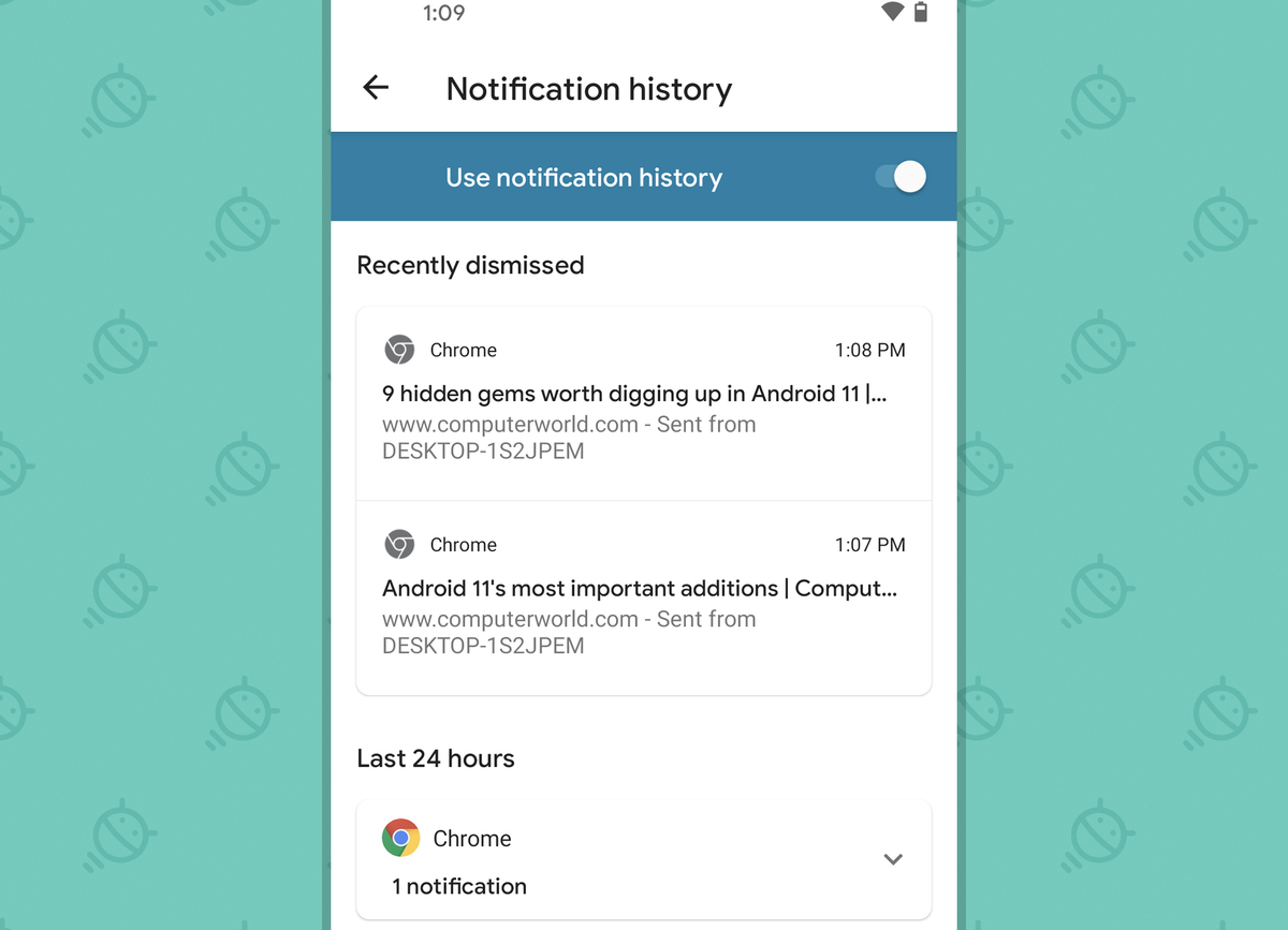 Android 11: notification history