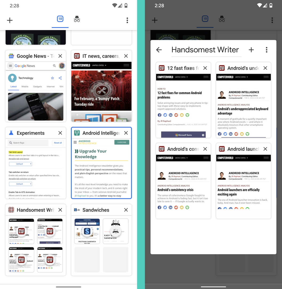 Chrome Android Settings: Tab grouping
