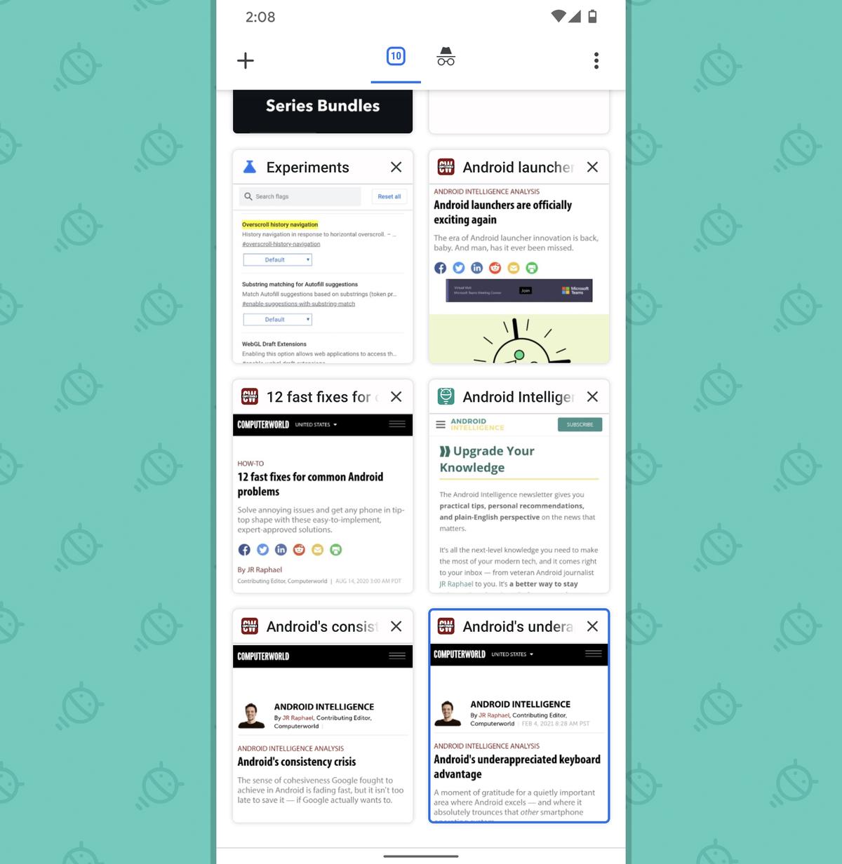 Chrome Android Settings: Tab grid