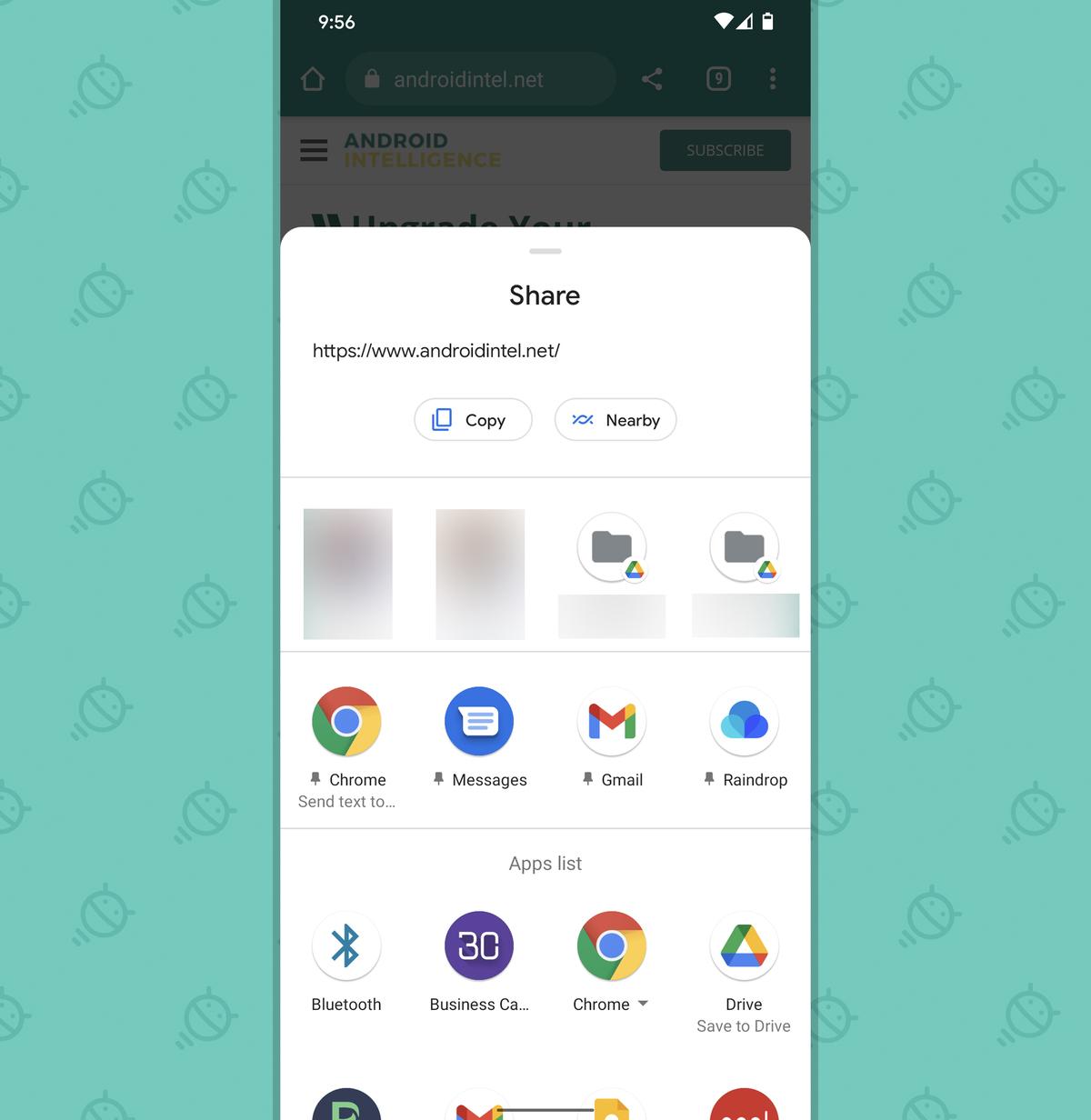 Chrome Android Sharing Settings: Standard share menu