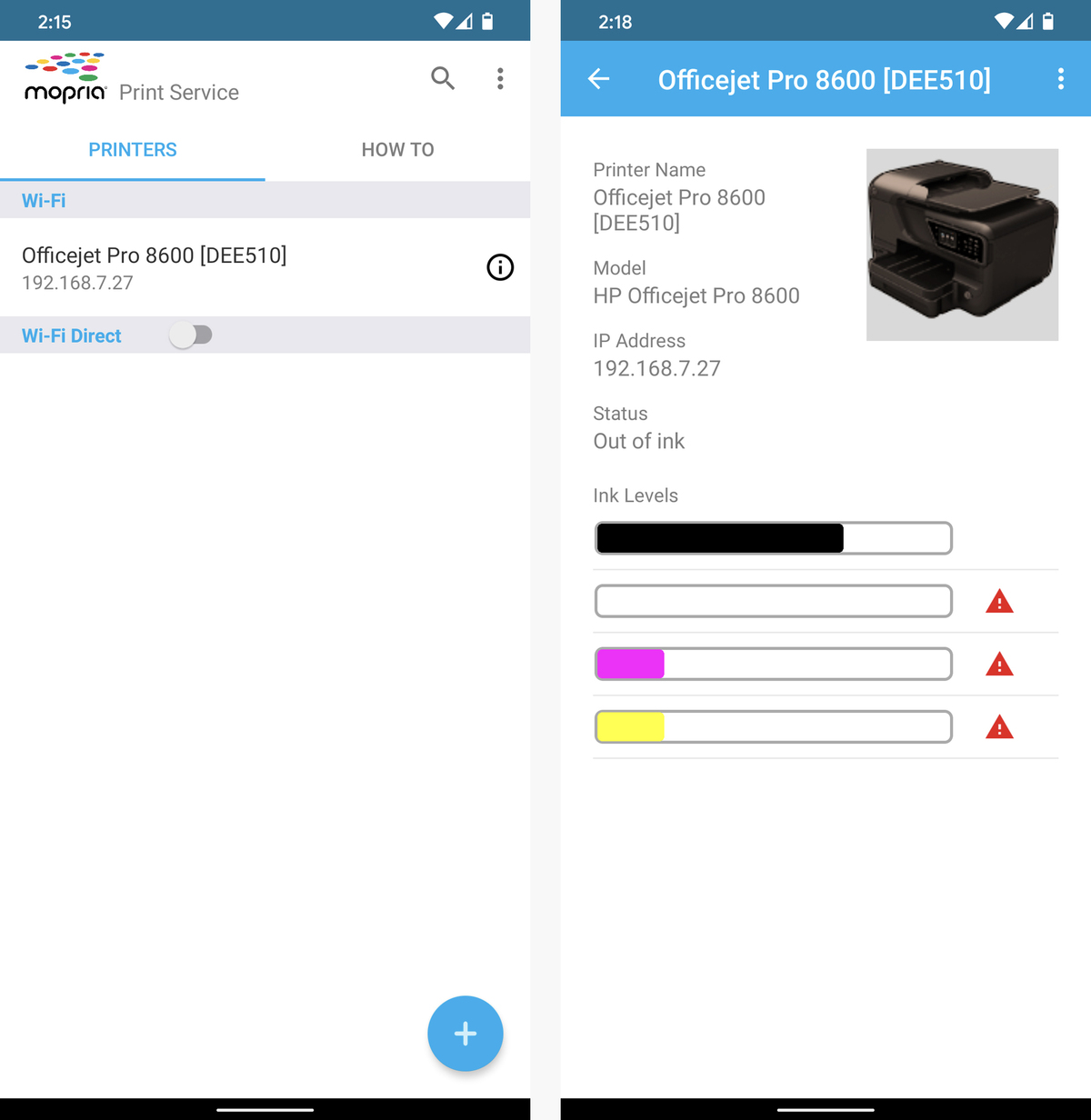android printing scanning mopria print service