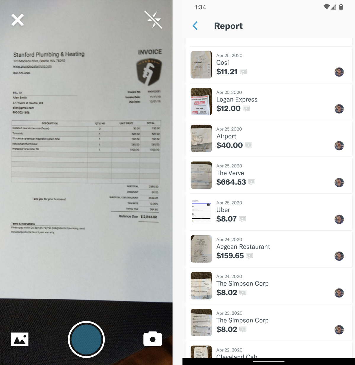 android organization apps expensify