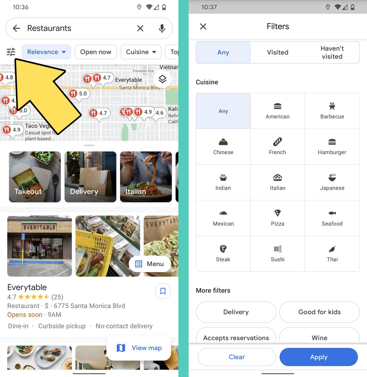 Google Maps Android: Restaurant filters